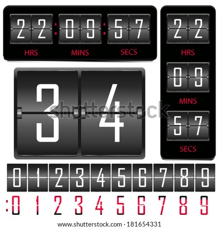 Vector horizontal and vertical hours and board of numbers. - stock vector
