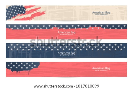Vector Horizontal Banner American flag. Manual drawing of textures. Set Usa Design for Presidents day, Independence day, national celebrations. Eps file layers.