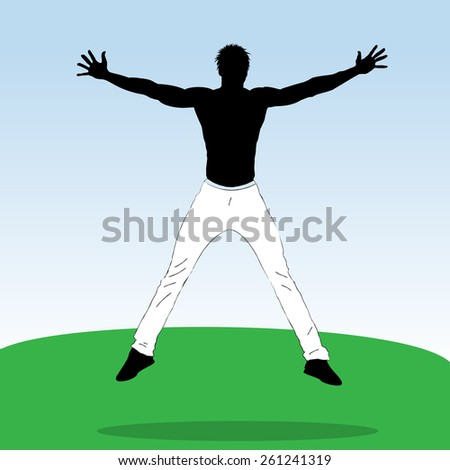 Vector horizontal banner with Young jumping athlete  - stock vector
