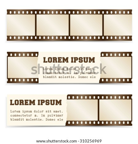 Vector horizontal banners set with with retro film strips. Use for movies, cinema, theater, festival, show etc.  Extensive use - www, website, web, backdrop, card, poster, label etc. Eps 10. - stock vector
