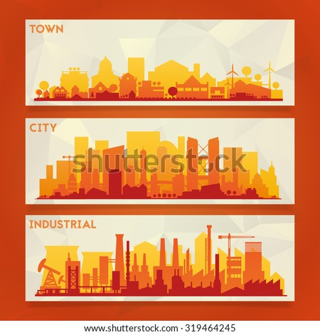 Vector horizontal banners skyline Kit with various parts of city: factories, refineries, power plants and small towns or suburbs. Illustration divided on layers for create parallax effect - stock vector