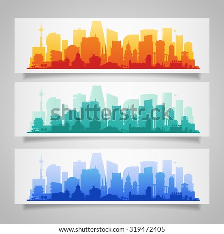 Vector horizontal banners with city skyline background - stock vector