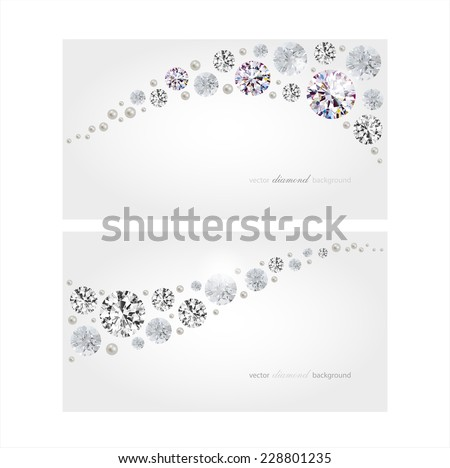 Vector horizontal banners with diamonds and pearls - stock vector