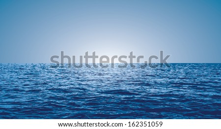vector horizontal blue background with sunrise over the ocean - stock vector