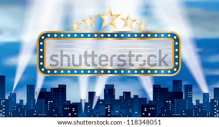 vector horizontal blue blank billboard over the city - stock vector