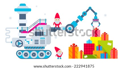 Vector horizontal Christmas illustration of the gnome operates the machine, which has brought a lot of gifts and putting  them a pile. Color bright flat design for card, banner, poster, advertising - stock vector