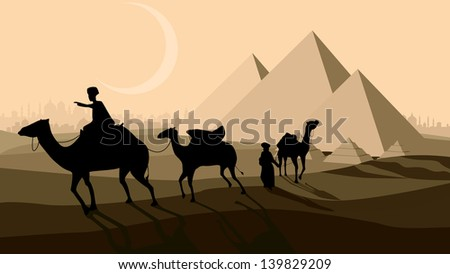 Vector horizontal illustration: bedouin caravan camels against over pyramids with city on horizon.