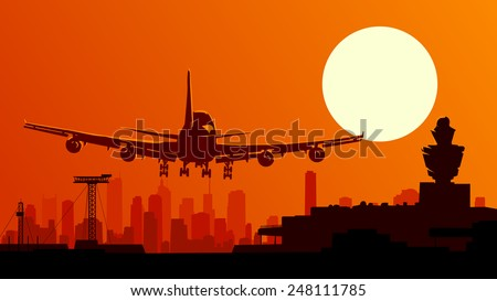 Vector horizontal illustration of airport with plane taking off at sunset. - stock vector