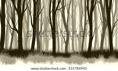 Vector horizontal illustration of forest with trees and grass.