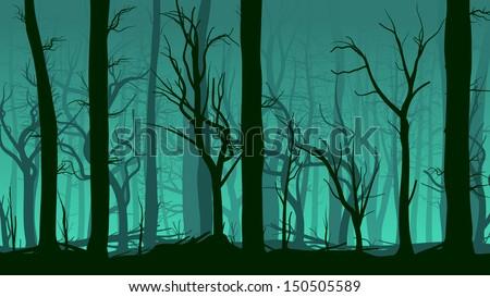 Vector horizontal illustration of tree trunks deadwood in dark green mist. - stock vector