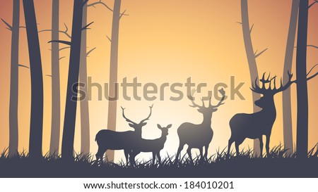 Vector horizontal illustration of wild deer in forest sunset. - stock vector