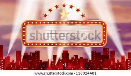 vector horizontal red blank billboard over the city - stock vector
