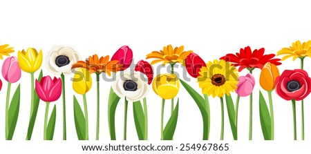 Vector horizontal seamless background with colorful gerbera, tulips and anemone flowers. - stock vector