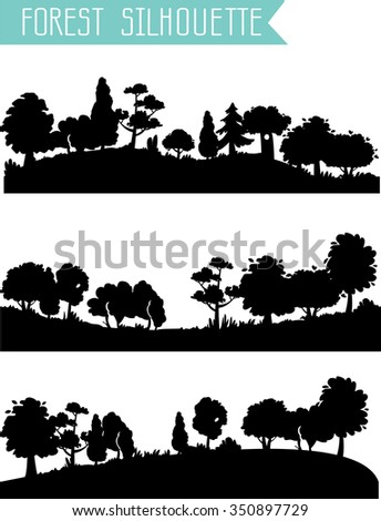 Vector horizontal silhouettes forest.