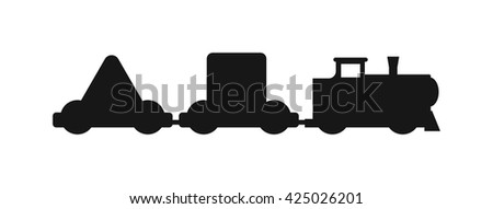 Vector horizontal silhouettes of trains. Trains silhouette locomotives with different wagons. Trains silhouette locomotive transportation and trains silhouette carriage freight sign rail traffic. - stock vector