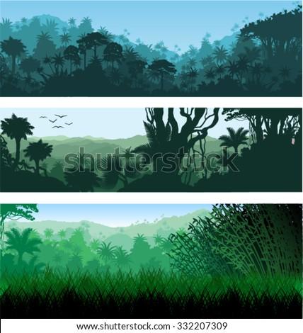 Vector horizontal tropical rainforest Jungle backgrounds - stock vector