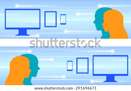 Vector horizontal web banner design with users and global connection theme, containing a computer, digital tablet and smartphone graphics. - stock vector