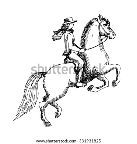 Vector horse and rider. White and black.