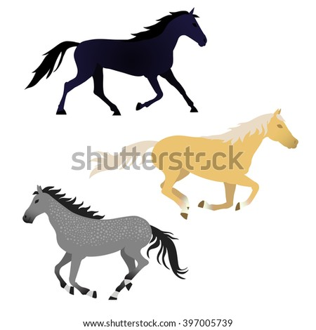 Vector horse collection. Elements for design on white background. Galloping horses. Dark blue, yellow, grey colors. - stock vector