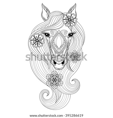 Vector Horse. Coloring page with Horse face. Hand drawn patterned Horse head with flowers in hairs, artistically decorative Horse for adult anti stress colouring books. Zentangle  boho, henna tattoo - stock vector