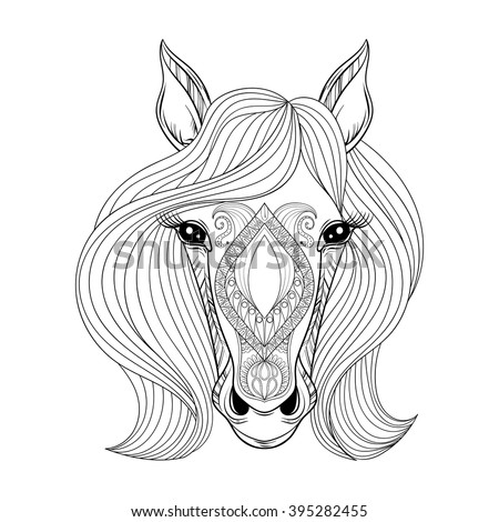 Vector Horse. Coloring page with zentangle Horse face. Hand drawn patterned Horse head with hairs, artistically decorative Horse for adult anti stress colouring books. Boho style, henna tattoo - stock vector