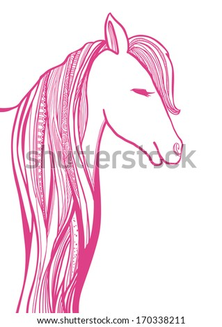 Vector  Horse Head illustration on white background