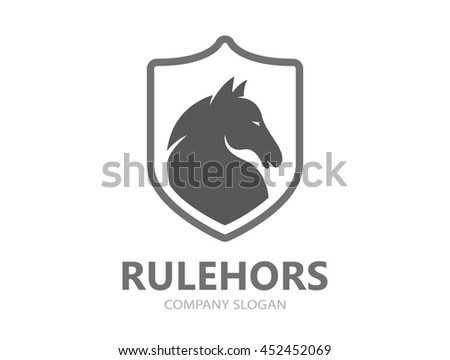 Vector horse logo template - stock vector