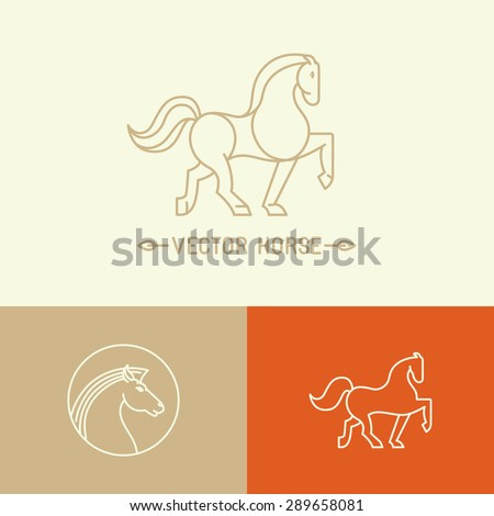 Vector horse logo template in trendy hipster  linear style - set of abstract emblems and concepts- mono line icons - stock vector