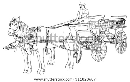 Vector horse cart coachman hand drawn stock vector 311828687 vector horse with cart and coachman hand drawn in art line black and white style ccuart Choice Image