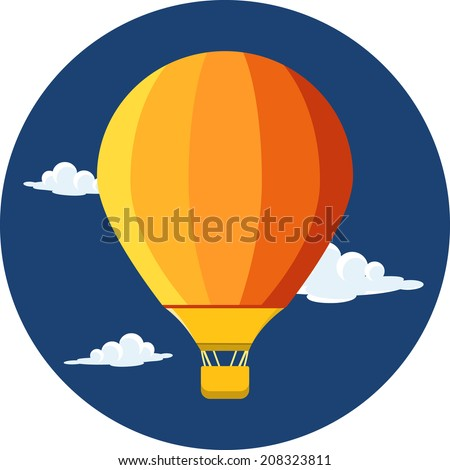 Vector Hot Air Balloon and Clouds - stock vector