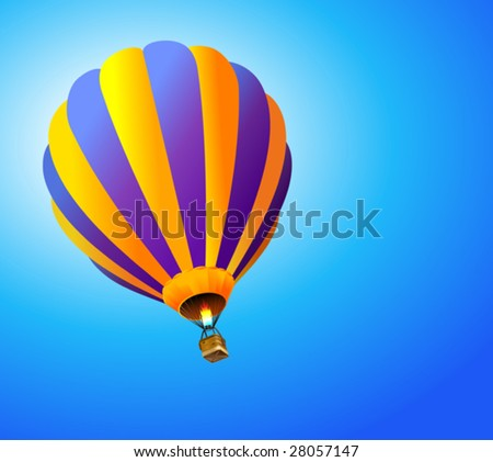 vector hot air balloon in the sky