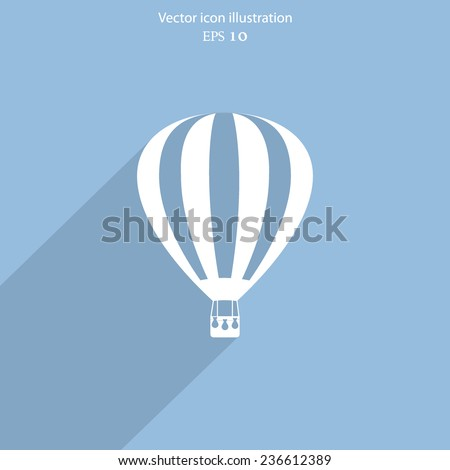 Vector hot air balloon web flat icon. Eps 10. - stock vector