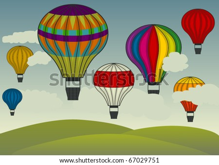 vector hot-air balloons floating in the sky