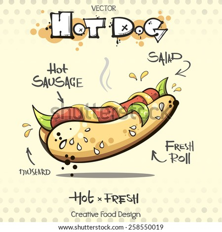 vector hot dog. sketch art for your design - stock vector