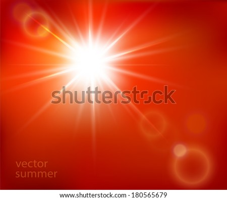 vector hot sun with lens flare  - stock vector