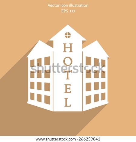 Vector hotel flat icon illustration. - stock vector