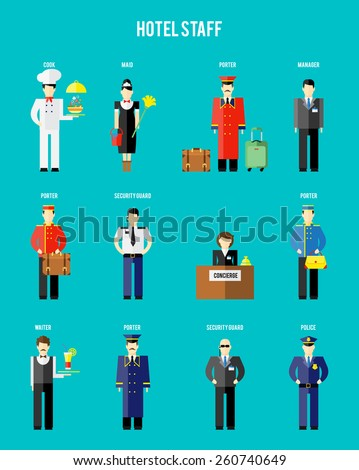 Vector hotel staff. Securityguard and police, receptionist and concierge, porter and waiter - stock vector
