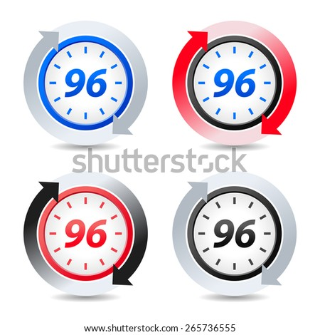 Vector 96 hours - stock vector