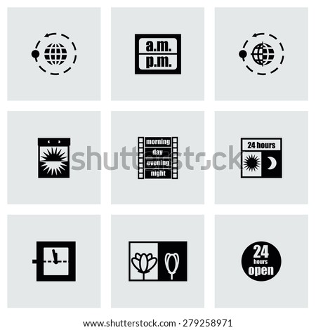 Vector 24 hours icon set on gray background - stock vector
