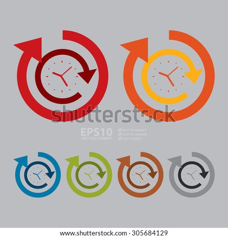 Vector : 24 Hours Service Infographics Flat Icon, Sign
