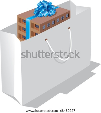 Vector, house as a gift. - stock vector