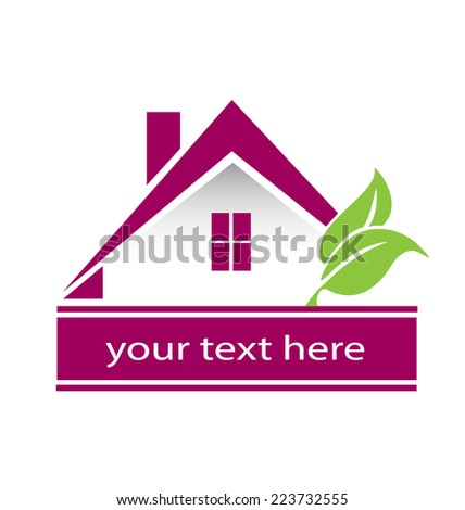 Vector House building abstract real estate countryside logo design template. Realty theme icon silhouette. - stock vector