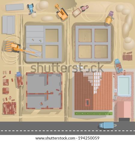 vector house building (top view)  - stock vector