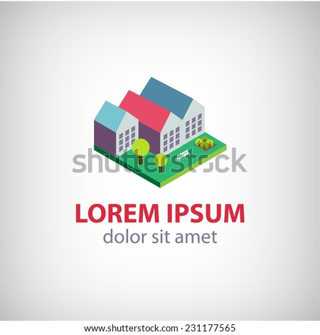 vector house, 3d building icon, logo isolated - stock vector