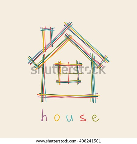Vector house icon. Doodle hand drawn sign of real estate. Childish color illustration for print, web - stock vector