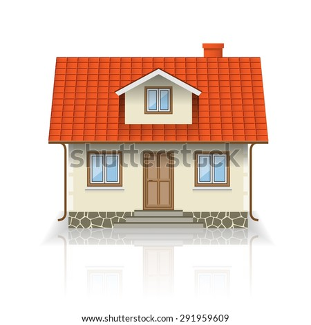 Vector House Icon Isolated on white background. Illustration. - stock vector