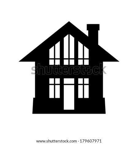 Vector house icon. Simple black and white sign of real estate. Illustration for print, web - stock vector