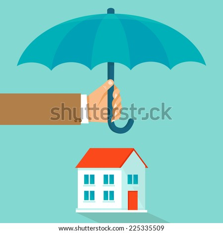 Vector house insurance concept in flat style - infographic design elements and icons - agent's hand holding umbrella over house - stock vector