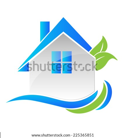 Vector house leafs and waves card design for real estate business  - stock vector