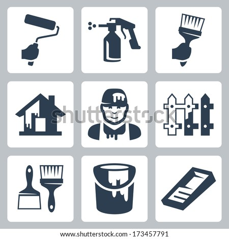 Vector house painter icons set - stock vector